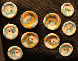 Button Set # 5 Polymer Clay Button Set of 10 - handmade from Polymer Clay by Treasure Vallie