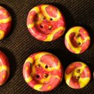 Button Set # 10 Polymer Clay Button Set of 8 - handmade from Polymer Clay by Treasure Vallie