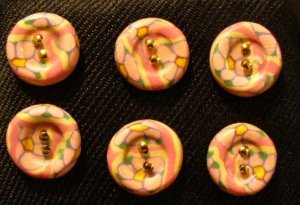 Button Set # 12 Polymer Clay Button Set of 6 - handmade from Polymer Clay by Treasure Vallie