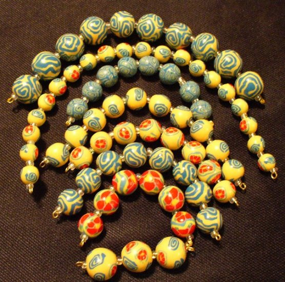 Set of 73 Beads # 4- Handmade from Polymer Clay by Treasure Vallie
