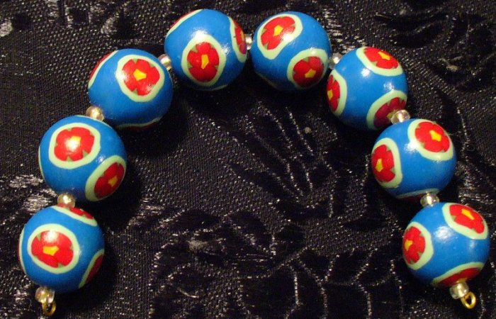 Set of 8 Beads # 9- Handmade from Polymer Clay by Treasure Vallie