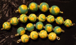 Set of 21 Beads # 12- Handmade from Polymer Clay by Treasure Vallie
