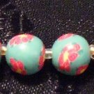 Set of 10 Beads # 13- Handmade from Polymer Clay by Treasure Vallie