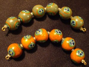 Set of 12 Beads # 37- Handmade from Polymer Clay by Treasure Vallie