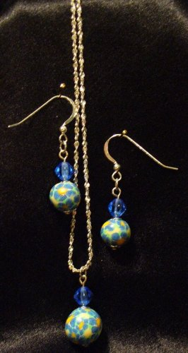 Jewelry Set # 1- Polymer Clay Pendant/ Earrings- Pure Sterling Silver- Handmade by Treasure Vallie