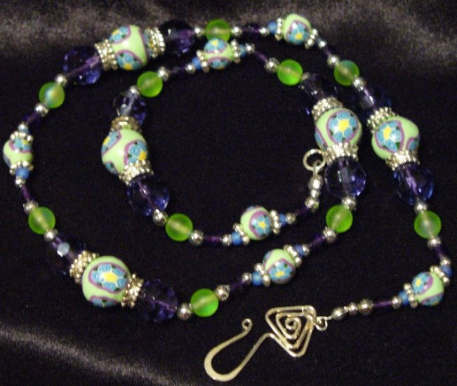 Sterling Silver Clasp Necklace # 5- Polymer Clay Beads handmade by Treasure Vallie