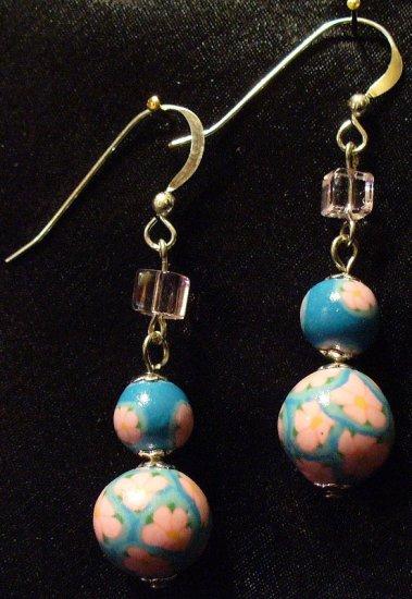Sterling Silver Earrings # 4- Polymer Clay Beads handmade by Treasure Vallie