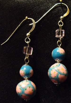 Sterling Silver Earrings # 4- Polymer Clay Beads handmade by Treasure Vallie