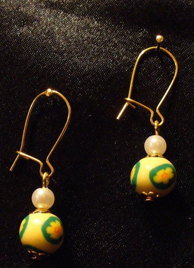 Earrings # 7- Polymer Clay Beads handmade by Treasure Vallie