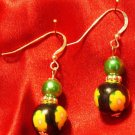 Sterling Silver Earrings # 9- Polymer Clay Beads handmade by Treasure Vallie