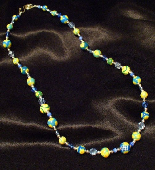 Sterling Silver Clasp Necklace # 2- Polymer Clay Beads handmade by Treasure Vallie