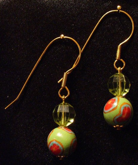 Large hook Earrings # 10- Polymer Clay Beads handmade by Treasure Vallie