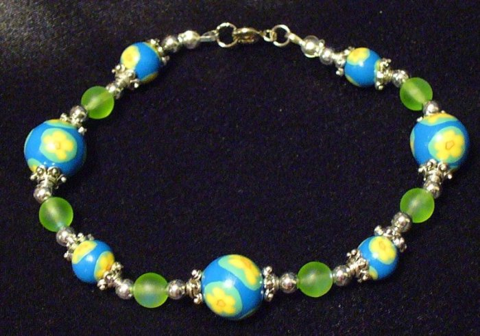 Bracelet # 1-Polymer Clay beads handmade by Treasure Vallie