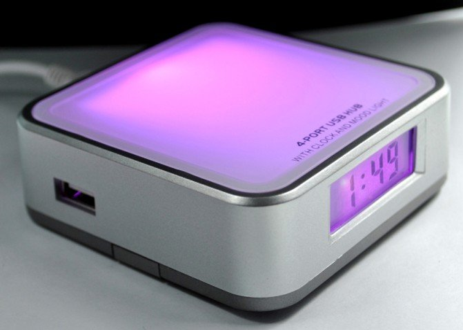 usb hub with clock and colorful light  2.0