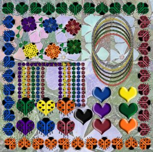 Digital Scrapbooking Kits - Ladybug Mini Scrap Kit 12x12 with 50 Digital Graphics