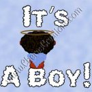 Black Headed It's A Boy Birth Announcement and Free Iron-On Graphic U-Print