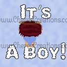 Red Headed It's A Boy Birth Announcements 2 and Free Iron On Graphic U-Print
