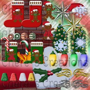 Digital Scrapbooking Kits - 12x12 Christmas Mini Scrapbook Kit with  with 81 Graphics