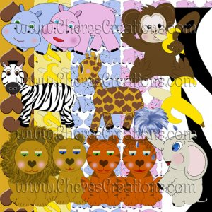 Digital Scrapbooking Kits - Zoo Animal Scrapbook Kit with 41 Digital Graphic