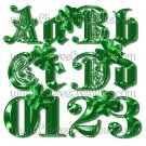 Fancy Green Alphabet Digital Scrapbook Kit