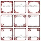 Fancy Red Digital Frames Set 2 for Scrap Booking