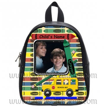 Personalized Crayon Bus Pencil Backpack Large
