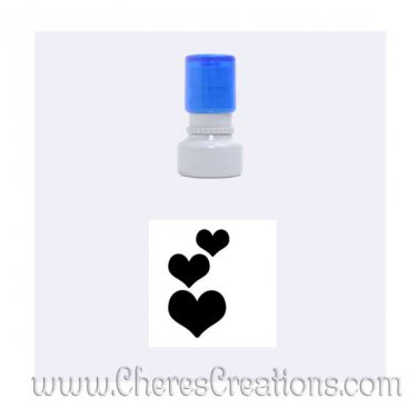 Three Hearts Rubber Stamp Round With Six Ink Color Choices Small