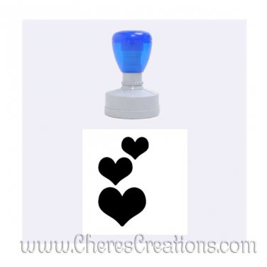 Three Hearts Rubber Stamp Round With Six Ink Color Choices Medium