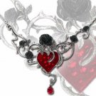 Heart Necklace Black Rose and Heart  Bed of Blood Rose Choker Valentine Day Gift