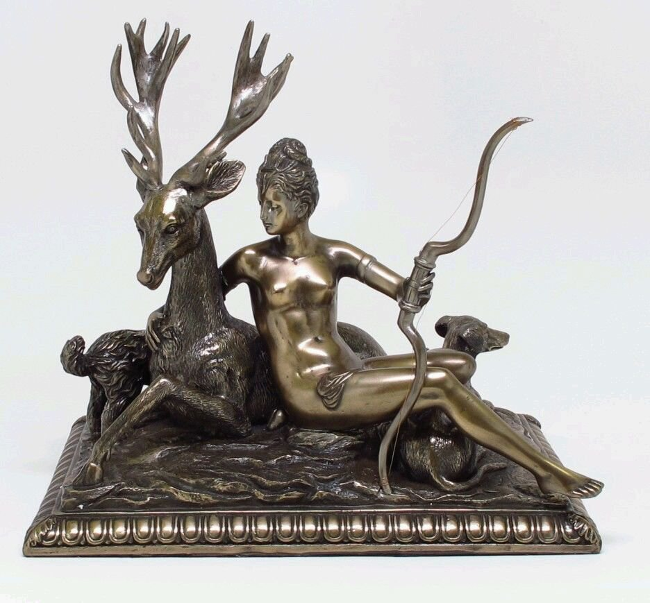 Artemis Goddess Diana and Stag Bronze Antique Reproduction Goddess ...