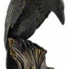 Raven On Tree Stump Mystical Raven Statue  Crow Statue 7 Inch  Black Raven Decor