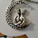 Familiar Moon Wishing Necklace Cat on Moon Necklace - Kittens Crescent Moon NEW