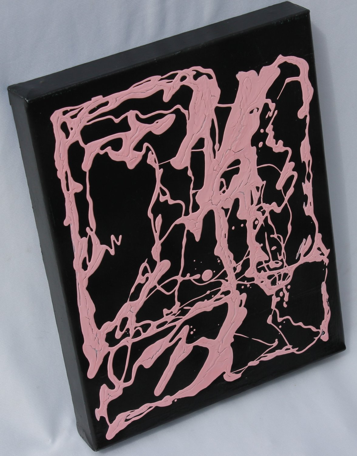 Modern Art Painting - new pink & black home decor decorating accent abstract art painting