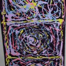 Hot Pink Abstract Painting - paint spill art - modern home decorating purple yellow