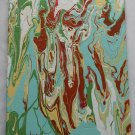 Home or Business Decor Art - marbled abstract pour painting - green teal brown