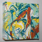 Abstract Pour Painting - Spa Art - hair salon home or business decor - house teal yellow blue
