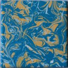Home or Business Decor Art - marbled abstract painting - blue teal yellow  minimalism