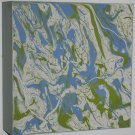 Home Decor Art - abstract marbled painting on wood clayboard - blue green beige & off-white