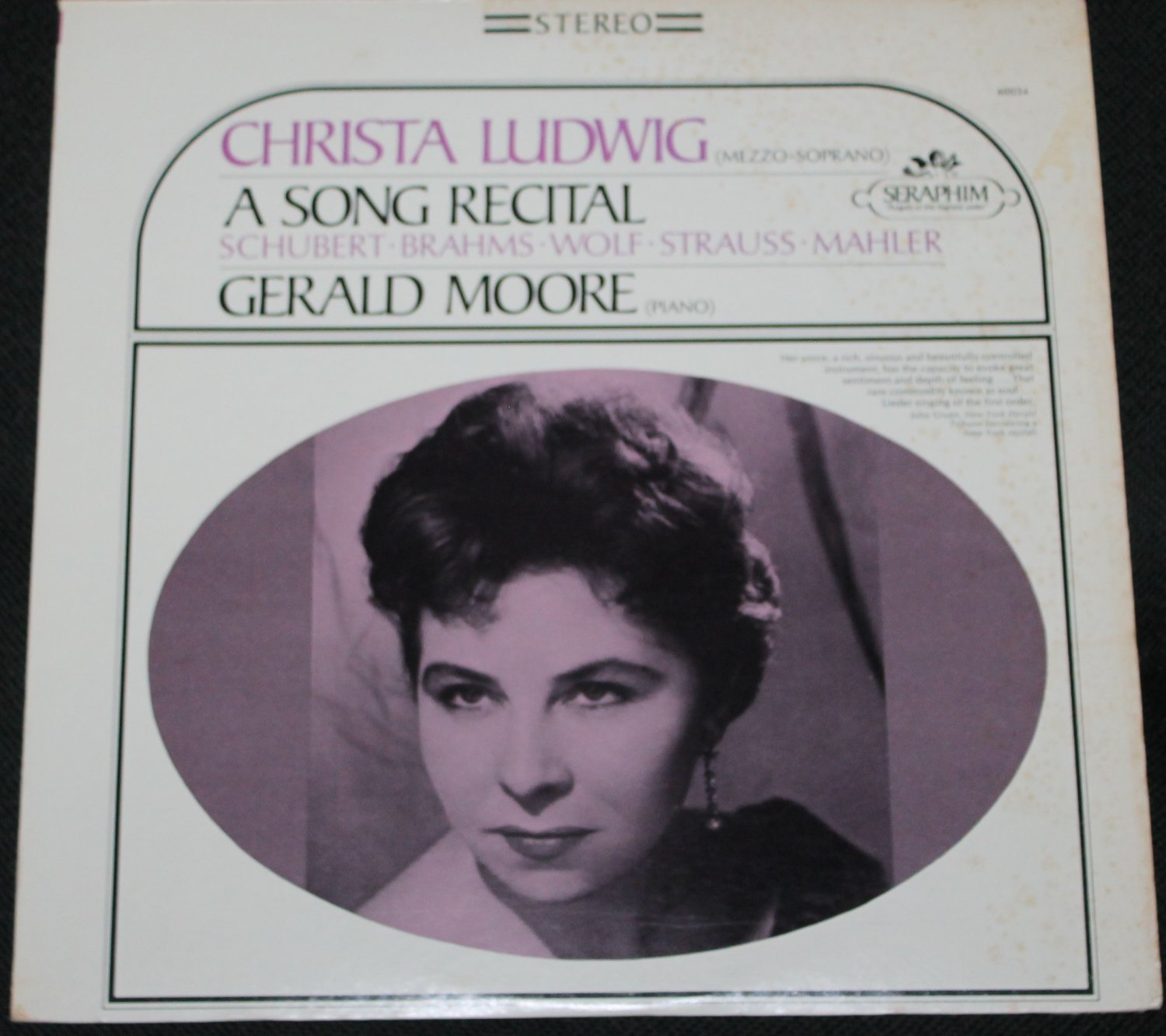 Christa Ludwig A Song Recital Schubert Brahms Wolf Strauss Mahler record - Gerald Moore Piano