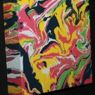 Rasta Painting - marbled abstract acrylic paint - yellow white, black, green, pink art