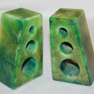 Green Alabaster Book Ends From Italy - Hand Carved Italian Made