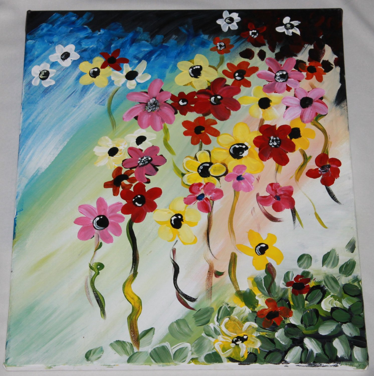 Flowers Painting - acrylic paint on cotton canvas