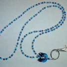 ADORABLE BLUE KITTY CAT~BEADED LANYARD~ID BADGE HOLDER~LANYARDS