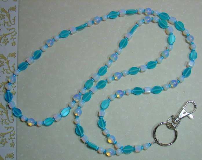 CATS EYE~MOONSTONE~BEADED LANYARD~ID BADGE HOLDER~LANYARDS