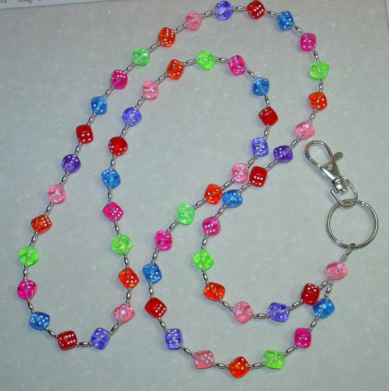 GAMBLING DICE~BEADED LANYARD~ID BADGE HOLDER~LANYARDS