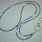 CELTIC~ROYAL BLUE MOUNTAIN JADE~BEADED LANYARD~ID BADGE HOLDER~LANYARDS