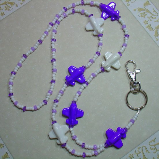 PURPLE & WHITE AIRPLANES~BEADED LANYARD~ID BADGE HOLDER~LANYARDS