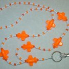 ORANGE AIRPLANES~BEADED LANYARD~ID BADGE HOLDER~LANYARDS