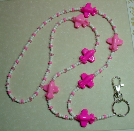 PINK AIRPLANES~BEADED LANYARD~ID BADGE HOLDER~LANYARDS