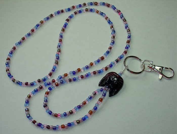 ADORABLE PURPLE  KITTY CAT~BEADED LANYARD~ID BADGE HOLDER~LANYARDS